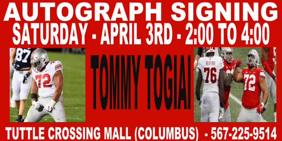 TOMMY TOGIAI AUTOGRAPH TICKET - 4/3 - TUTTLE STORE   (IN STORE- MAIL INS OR DROP OFFS)