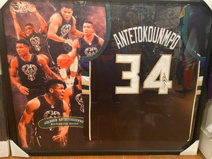 FRAMED SIGNED GIANNIS ANTETOKOUNMPO JERSEY WITH JSA COA