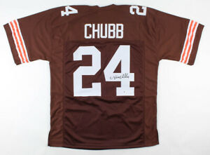 NICK CHUBB SIGNED  CLEVELAND BROWNS CUSTOM JERSEY - JSA COA
