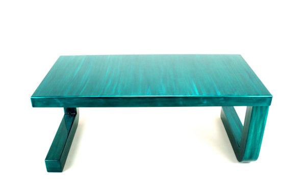 2 leg teal coffee table