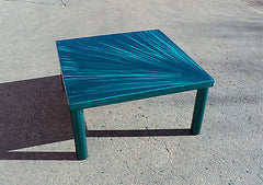Custom Metal Coffee Table, Teal Finish