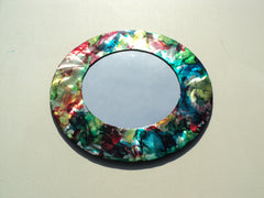 Colorful Steel Accent Mirror Handmade and Hand-painted