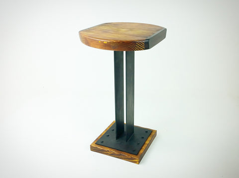 Custom Handmade Wood and Steel Side Table