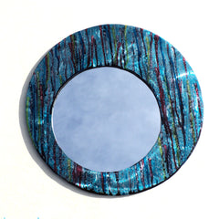Artsy Metal Accent Mirror, Blue with Colorful Highlights