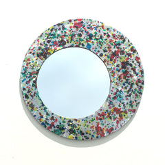 Colorful Steel Accent Mirror. Handmade and Hand-painted