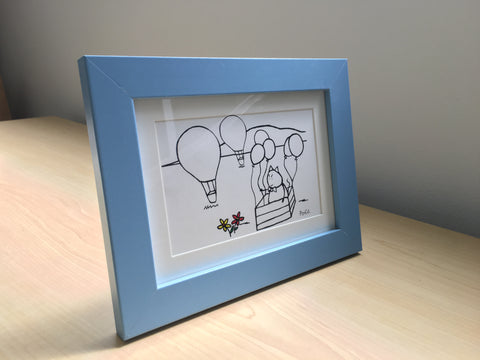 Mr. PonCat hot air ballooning framed art and gift