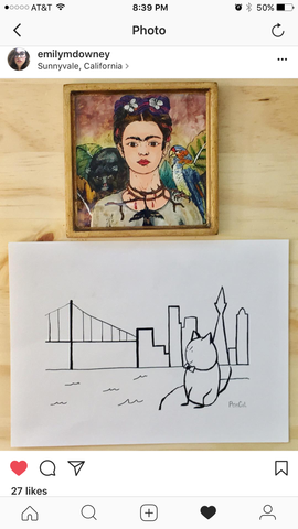 Customer Instagram post of mrponcat.  Cat artwork