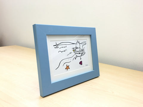 Mr. PonCat goes to the beach. Gift Frame