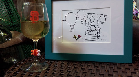 Mr. PonCat hotair balloon framed art