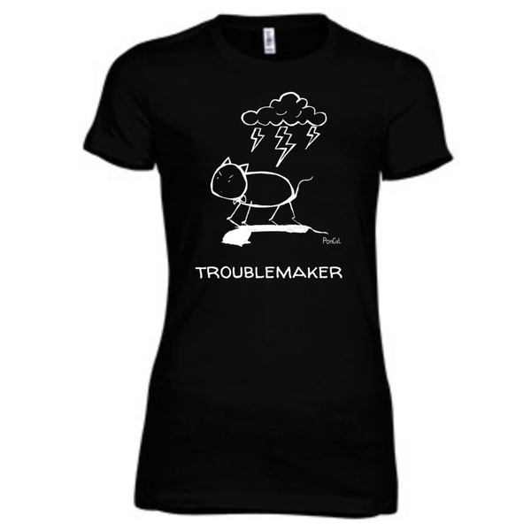 """PonCat Arrives"" Women's slim fit t-shirt (TroubleMaker Style)"