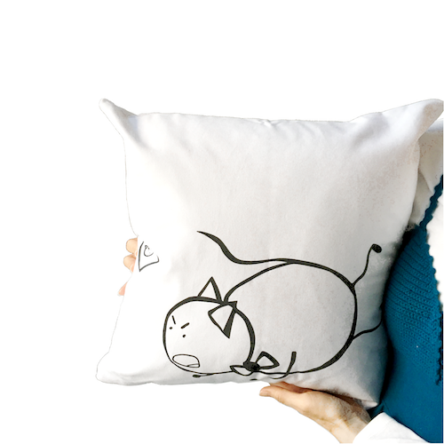 PonCat Trips and Falls Throw Pillow