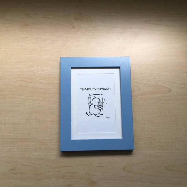 Framed Art: Mr. PonCat Naps Everyday