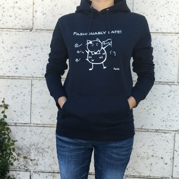 """Fashionably Late"" PonCat Women's Hoodie!"