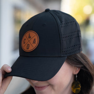 Black Perf Hat with Dark Leather Logo Patch