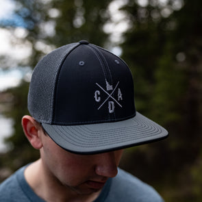 Charcoal & Black Flex Fit Mesh Back Logo Hat