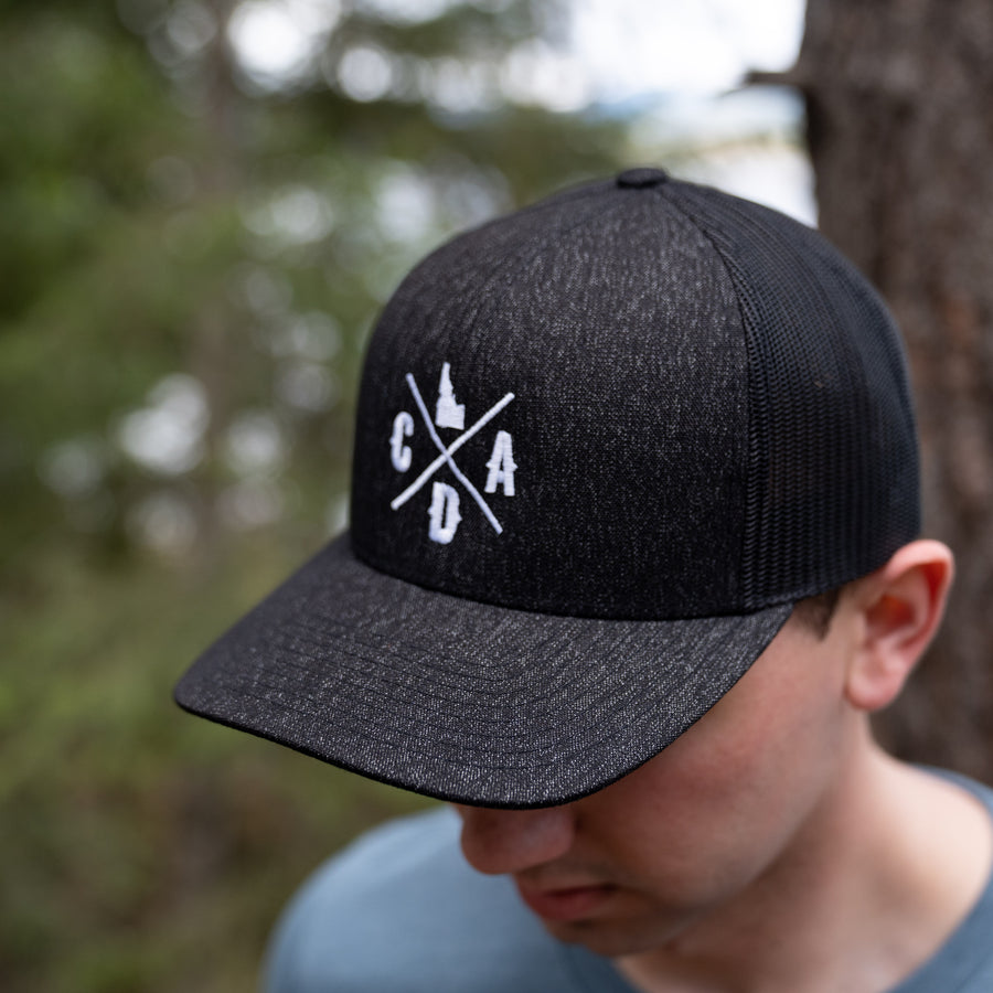 CDA IDAHO Logo All Black Heather Trucker Hat