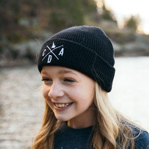 Kids Black Merino Wool Beanie