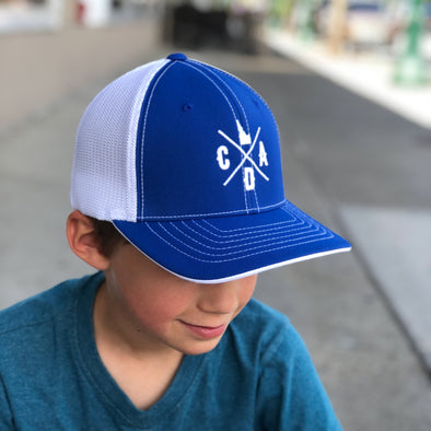 Blue & White Flex Fit Mesh Back Logo Hat