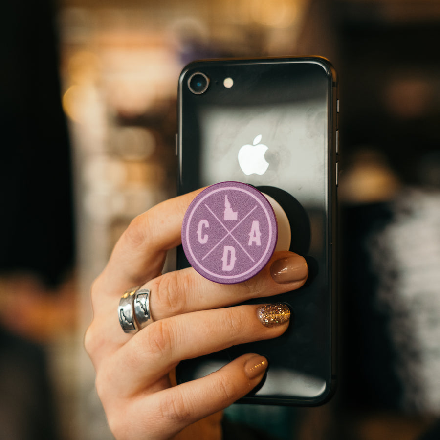 Bold Purple CDA Idaho Logo Popsocket