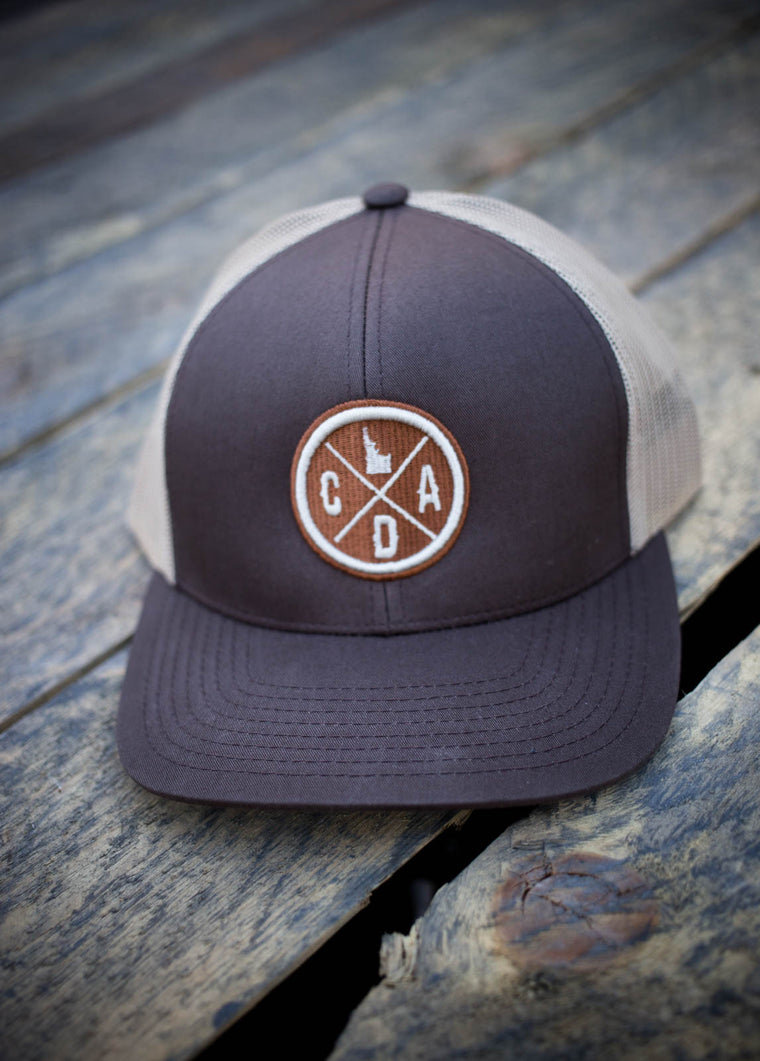 Embroidered Trucker Hat - Brown & Tan