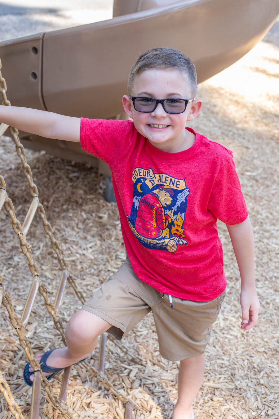 Kids Red Campfire Bear Tee