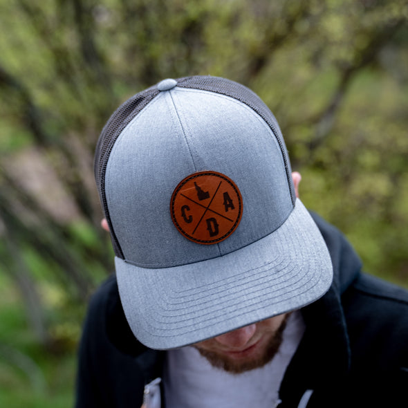 CDA Dark Leather Logo Heather Gray Trucker Hat