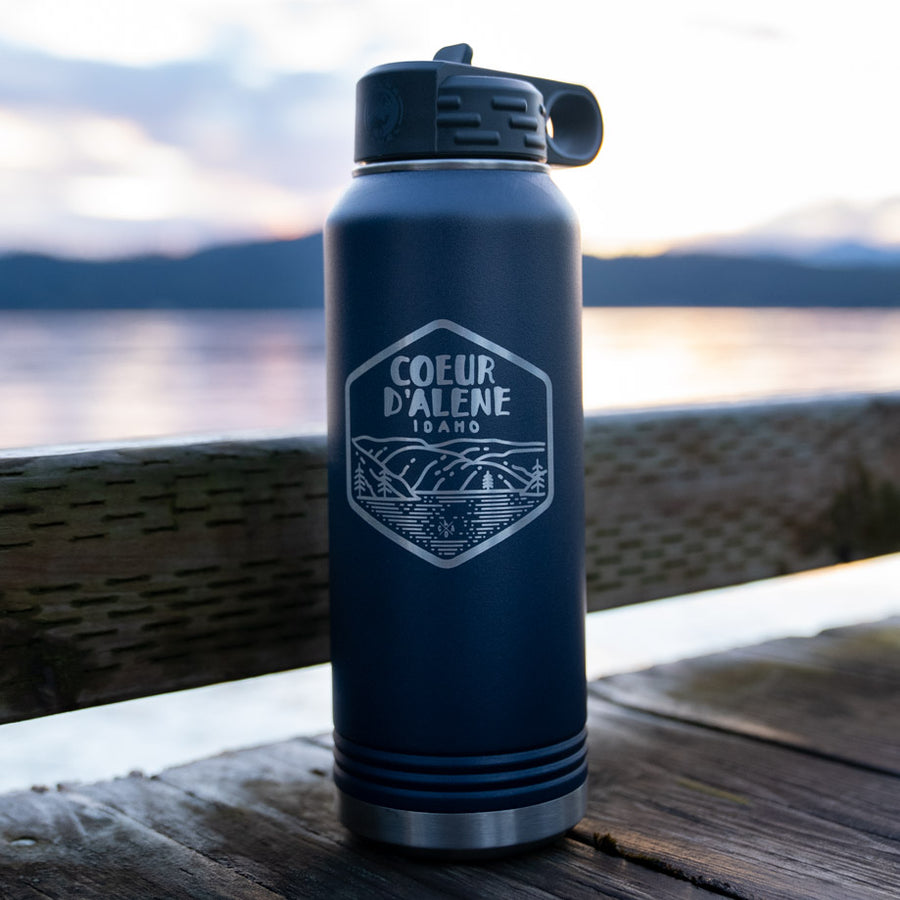 By the Lake Matte Midnight Blue Insulated 32oz Flask