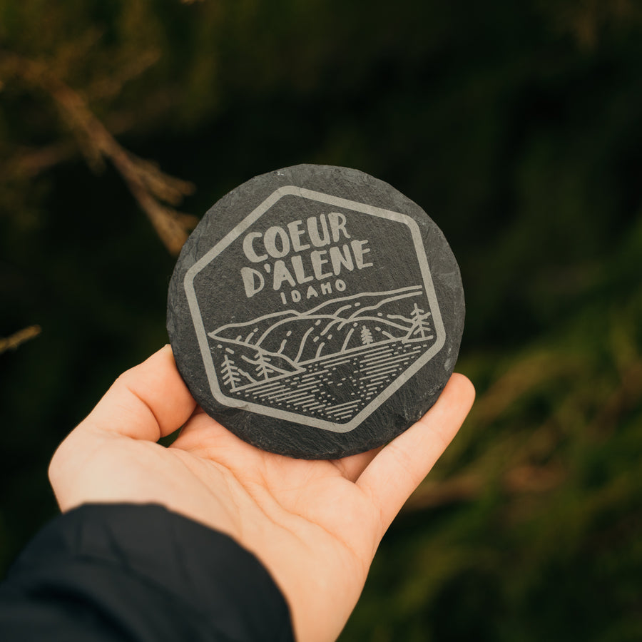CDA By the Lake Slate Beverage Coaster