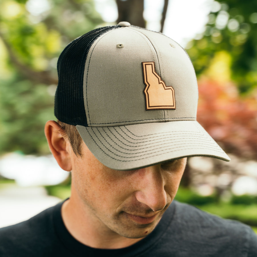 Idaho State Leather Patch Trucker Hat