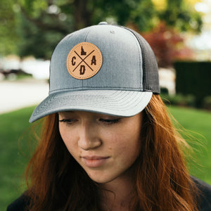 CDA Light Leather Logo Heather Gray Richardson Trucker Hat