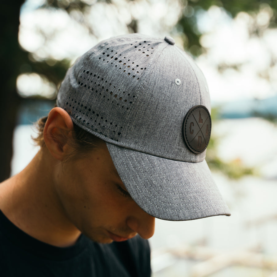 Gray Heather Perf Hat, Black Leather Logo