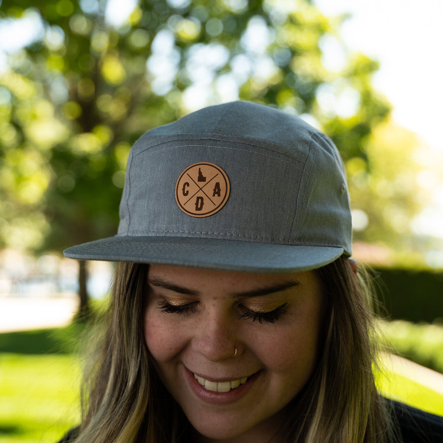 CDA Idaho Logo Leather Patch Heather 5 Panel Hat