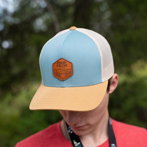 Smoke Blue Leather Patch Logo Hat