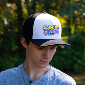Bubblegum Liquid Embroidery Black and White Trucker Hat