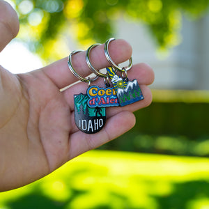 Bigfoot Idaho Mountains Metal Enamel Keychain