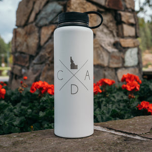 White Fine Logo 40oz H2GO Flask