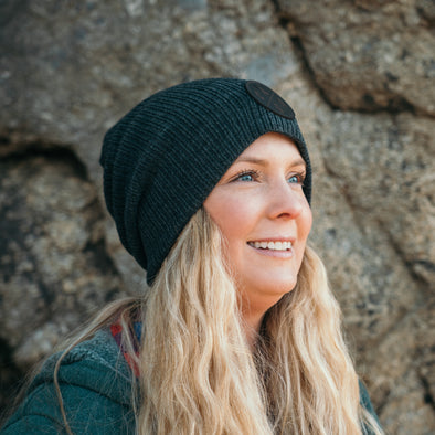 Dark Heather Leather Patch Slouchy Beanie