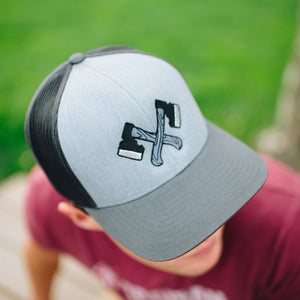 Dual Hatchet Trucker Hat Graphite Black Mesh