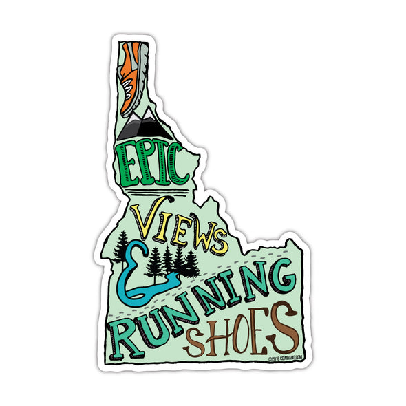 Epic Views In Running Shoes Sticker