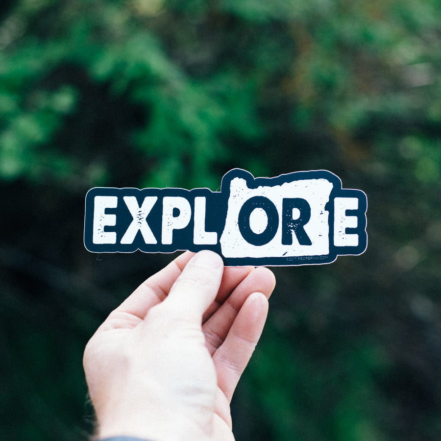 Explore Oregon Sticker - Black Background