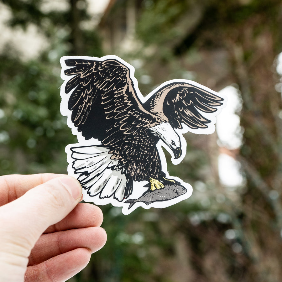 Eagle On The Catch Sticker