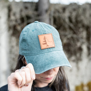 Green Idatree Leather Patch Vintage Hat