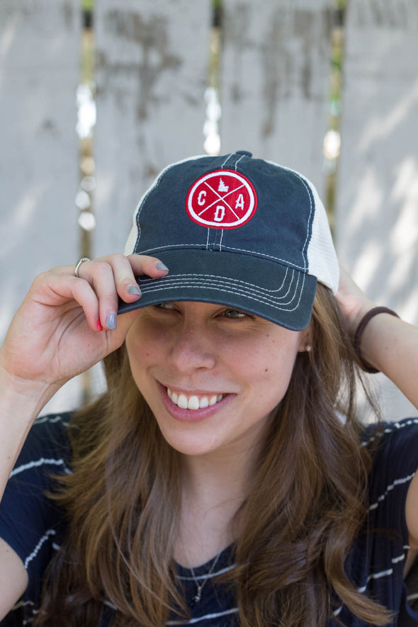 Vintage Worn Trucker Hat Logo Navy & Red