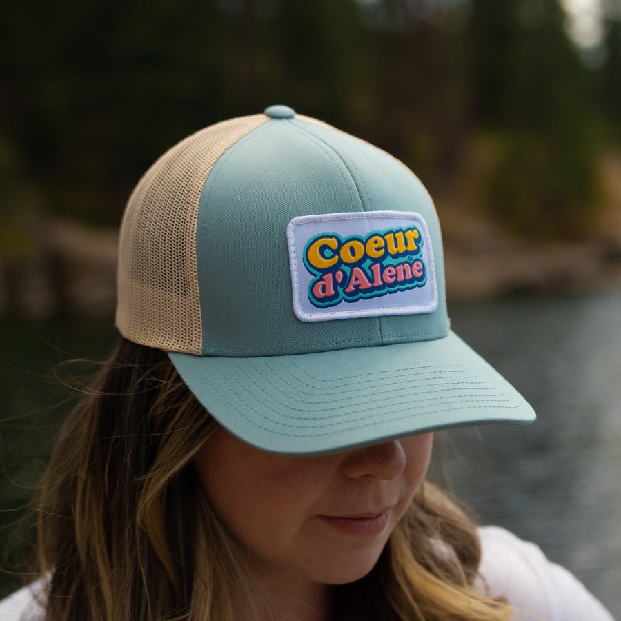 CDA Bubblegum Smoke Blue Woven Patch Trucker Hat
