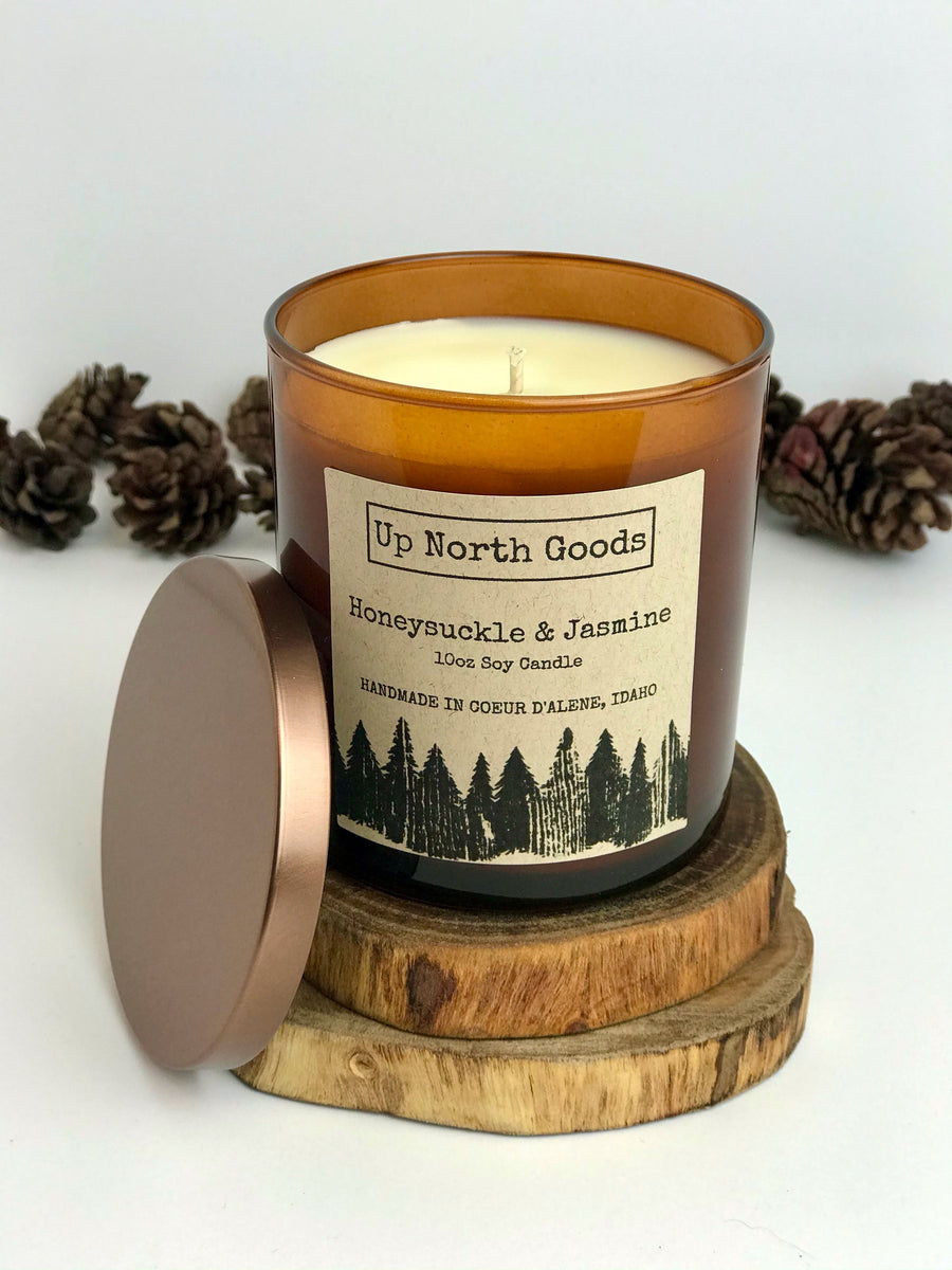 Honeysuckle & Jasmine 10oz Soy Candle by Up North Goods