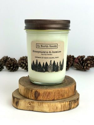 Honeysuckle & Jasmine 8oz Soy Candle by Up North Goods