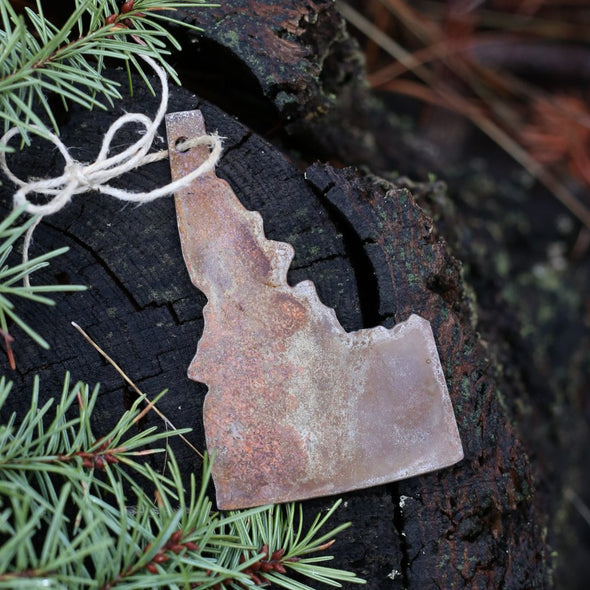 Rugged Rusty Metal Idaho Ornament