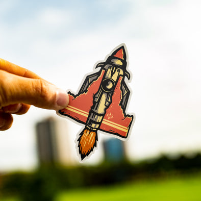 Idaho Retro Rocket Ship Sticker