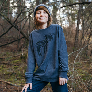 Kids Long Sleeve Dark Heather Gray Gangster Shirt