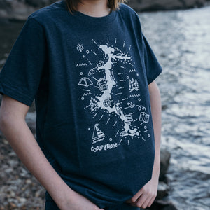 Kids Lake Map Heather Navy Tee